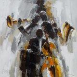 バンドのための印象のキャンバスの油絵