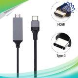 USB는 C에서 은하 S8를 위한 HDMI 인터페이스 장비를 가진 HDMI 케이블을 타자를 친다