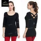 Рубашки длинней рубашки женщин Backless сексуальные для износа йоги