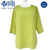 Fluorescente verde suelta de manga larga blusa de la manera de las señoras