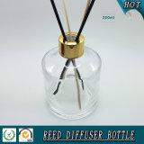 250ml vident la bouteille tubulaire en verre de diffuseur avec le chapeau d'aluminium d'or