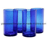 Jogo de 4PCS do vidro elevado da esfera do azul de cobalto (B-C021)