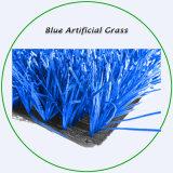 Grama de relva sintética de cor azul para desportos, futebol e campos de futebol