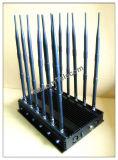 30W Creative celular Jammer, 2g+3G+2.4G+4G+GPS+VHF+UHF Jammer Blocker