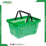 Cestas de compra plásticas do punho do dobro do supermercado