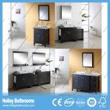 American Style Deluxe Classique Meuble de salle de bain en vannes en bois massif avec armoire latérale (BV150W)