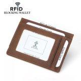 포도 수확 미친 말 가죽 반대로 RFID 자석 돈 클립 소형 지갑