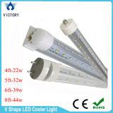 V de la forma del refrigerador de la puerta LED Luces 8FT T8 44W doble fila SMD 2835 LED Tubos para la luz del refrigerador
