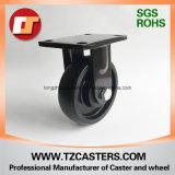 Spray-Lack Schwarz-örtlich festgelegte Fußrolle mit Roheisen-Rad