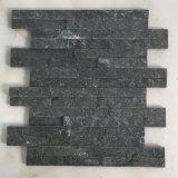 De slanke Zwarte Natuurlijke Gelijmde Gestapelde Steen van het Kwartsiet