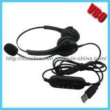 Ruído do computador do Headband que cancela auriculares do USB com microfone