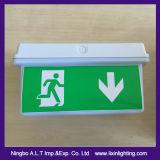 유포자를 가진 비상사태 방수벽 빛이 아래로 그리고 출구 운영하는 남자로 드롭하는 LED를 유지하십시오