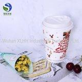 Tazas de café calientes del papel de empapelar de la ondulación de la capa doble de la depresión de la venta con café de papel impreso aduana de la taza de papel del café de la insignia