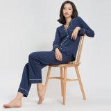 Pijamas 100% do terno da roupa de noite do algodão da alta qualidade com saco do armazenamento