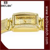 Vigilanza impermeabile della vigilanza del quarzo della vigilanza di oro di numeri romani del quadrato dell'acciaio inossidabile delle donne di Belbi