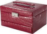 Chiusura il contenitore di monili/cassa a chiave rossi di cuoio con gli inserti di corsa