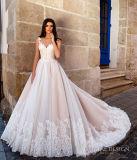 Краснеет платье венчания Lb2017728 розового Bridal шнурка Tulle мантий французского отвесное заднее