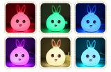 Het kleurrijke Leuke van het Konijn van Kinderen Licht van de leiden- Lijst, de Lichte LEIDENE van de Nacht van de Sensor van de Aanraking van het Silicone Lamp van het Bureau