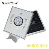 8W todo em uma lâmpada leve solar da rua do painel do diodo emissor de luz