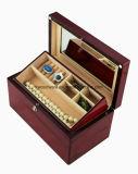 Bois de rose brillant boîte cadeau de bijoux en bois avec bac
