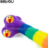 Consolador colorido de 9 pulgadas con la piel verdadera que siente el consolador artificial del arco iris del pene para el consolador alegre de la vagina