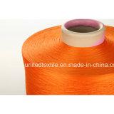 600d/192f를 가진 100%년 낮게 폴리에스테 털실 DTY 고무줄 주황색 그