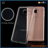Caja del teléfono de 2 mm de cristal claro TPU para Samsung Galaxy C5 / C7 / C9