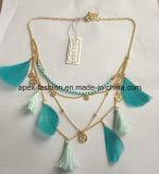 Beads, Feather, Frocks, Colar de tecido com jóias de moda de metal