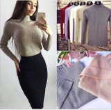 여자의 순수한 색깔 겨울 자라목 스웨터 긴 소매 Ribbed 편물