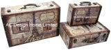 PU Leather/MDF 나무로 되는 저장 여행 가방 상자를 인쇄하는 디자인 S/3 훈장 앙티크 포도 수확 자유의 여신상