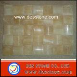 Azulejo de mosaico amarillo decorativo del Onyx del mármol del cuarto de baño (DES-MS03)