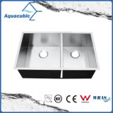 Bol en acier inoxydable synthétiques ou artificielles double évier de cuisine (ACS3320S)