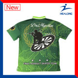 T-shirts faits sur commande de polo de tir de concurrence de Mens de sublimation de vêtements de sport de Healong