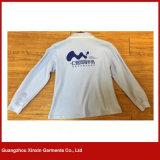 Camice di T lunghe di polo del manicotto della camicia di polo delle camice di cotone degli uomini di 100% (P137)