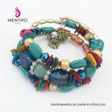 Braccialetto multicolore a più strati delle pietre di vendita del braccialetto di misura adattabile caldo di Exoticism