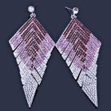 Estrella cristalina de lujo del triángulo de los pendientes de la novia del diamante Wedding los pendientes largos