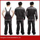 Pantalon fonctionnant de bavoir de polyester bon marché en gros de coton d'usine pour les hommes (W257)