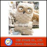 Talla de piedra del granito de la escultura amarilla del buho