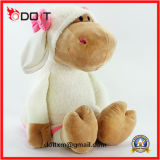 Pink Bow Soft Stuffed Peluche Hippo Toy pour enfants