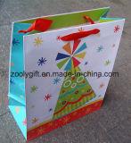 Sacs de cadeau de papier d'imprimerie de modèle de vacances avec le traitement de bande