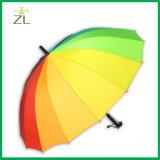 parapluie épointé de couples de pluie de bâton de marche de couleurs de l'arc-en-ciel 24ribs avec l'impression de logo