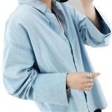 Chemise femelle de denim de polo de mode chaude de vente