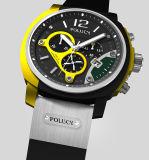 High-end моды Style силиконового герметика Band спорта хронограф часы логотип