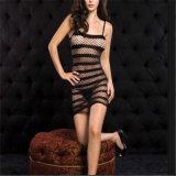Female Erotic Sexy Costumes Linen room Net Nightie Nightdress Nightwear Crotch Dress Body Stocking Women Intimates