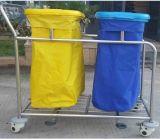 Carrello dello spreco dell'ospedale del blocco per grafici dell'acciaio inossidabile con il sacchetto impermeabile due