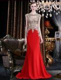 قوّمت خارجا ينظم شريط [شفّون] أحمر طويل مساء ثوب نساء