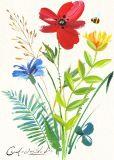 100% handgemachtes Ölgemälde einer Biene in den Blumen