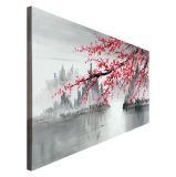 손으로 그리는 자두 꽃송이 꽃 화포 벽 예술 전통 중국어 유화