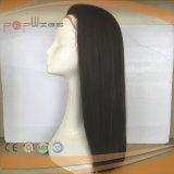 Peluca superior de seda negra natural de la Virgen llena del cordón (PPG-l-0546)