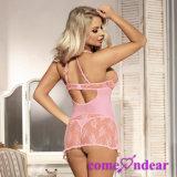 OEM 새로운 도착 유혹 섹시한 분홍색 레이스 Transparente 고삐 섹시한 Babydoll